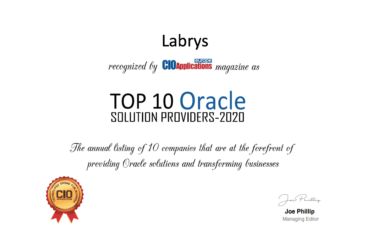 Labrys has been recognized as one of the Top 10 Oracle Solutions Providers in 2020 by CIO Applications Europe Magazine!